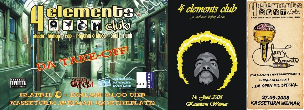 4 Elements Club Flyer-Kollage